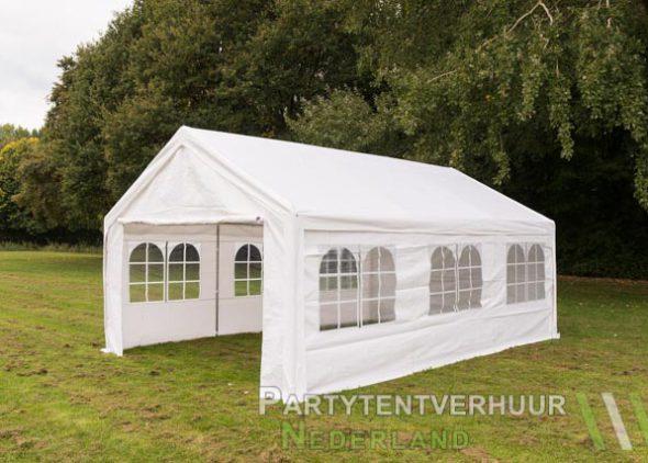 Partytent 4x6 meter zijkant huren - Partytentverhuur Partytent 4x4 meter voorkant met deur open huren - Partytentverhuur Utrecht